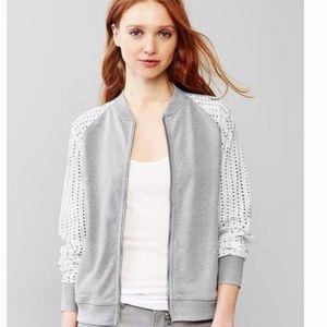 Eyelet zip-up jacket